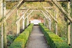 Perspectiva del jardín con el banco Imagenes de archivo