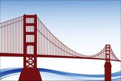 Perspectiva del paisaje del puente de puerta de oro libre illustration