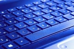Perspectiva del teclado un ordenador portátil Fotos de archivo