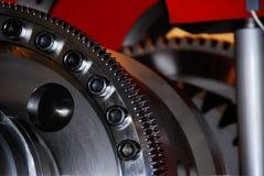 Perspectiva dentada del primer del engranaje-piñón de la rueda dentada fotos de archivo