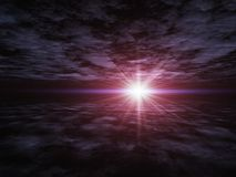 Perspectiva do horizonte sobre o plano da nuvem Imagens de Stock