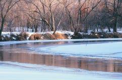 Perspectiva do inverno do rio do rum - Minnesota Fotos de Stock