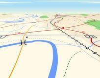 Perspectiva do mapa Fotos de Stock Royalty Free