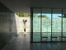 Perspectiva do pabellon de Barcelona Imagens de Stock Royalty Free