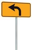 A perspectiva do sinal de estrada da rota da curva à esquerda adiante, amarela o signage isolado do tráfego da borda da estrada,  Imagem de Stock