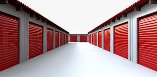 Perspectiva dos cacifos de armazenamento Fotografia de Stock Royalty Free