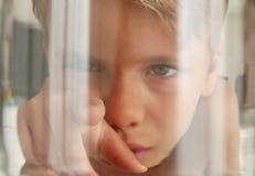 Perspectiva dos peixes: olhando uma criança que toca no vidro do aquário Imagens de Stock Royalty Free