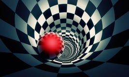 Perspectiva e predeterminação Bola vermelha em um túnel co da xadrez Imagens de Stock Royalty Free