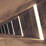 Perspectiva interior abstracta del hormigón 3d con las luces Imagenes de archivo