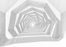 Perspectiva interior del túnel blanco del remolino, 3d Imagenes de archivo