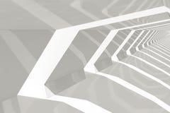 Perspectiva interior del túnel brillante blanco, 3d Foto de archivo