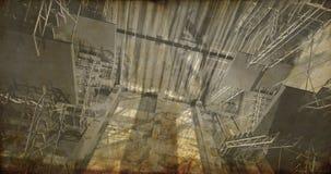 Perspectiva. Interior industrial moderno, escadas, espaço limpo dentro Imagens de Stock
