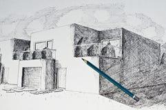 Perspectiva moderna de la casa de la configuración y un lápiz Fotos de archivo