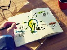 Perspectiva pessoal de Person Planning para ideias Imagens de Stock Royalty Free