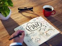 Perspectiva pessoal de Person Planning para o trabalho Fotografia de Stock Royalty Free