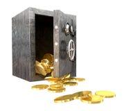 Perspectiva segura de las monedas que se derrama imagen de archivo