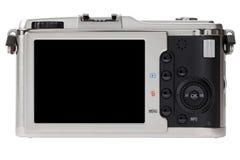 Perspectiva trasera de las cámaras digitales con la pantalla del LCD Imagen de archivo