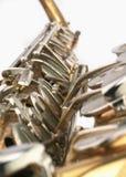 Perspectiva velha do detalhe do saxofone Imagens de Stock Royalty Free