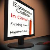 Perspectivas econômicas em mostrar do monitor financeiro Fotos de Stock