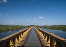 Perspective 1. View over an abandoned railway bridge over a swamp stock image