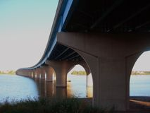 Perspective. Changes passing Bridge over Fox River Stock Photo