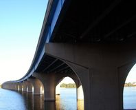 Perspective. Changes passing Bridge over Fox River Royalty Free Stock Images