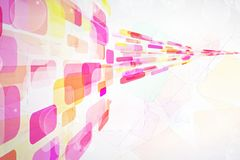Perspective. Abstract background - pink and yellow rounded rectangles Stock Image