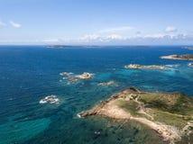 Perspective aérienne au-dessus de La Maddalena images libres de droits