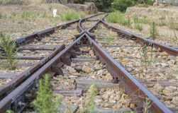 Perspective of abandoned tracks in the northeast of Sardinia It Royalty Free Stock Photo