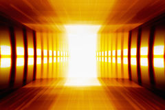 Perspective. Abstract background - glowing perspective grid, bright light from doorway Stock Photos