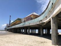 Galveston's pleasure pier. A perspective angle of Galveston's famous pleasure Royalty Free Stock Image