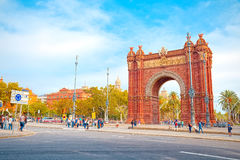 Perspective Arc de Triomphe in Barcelona. It`s a triumphal arch in the city of Barcelona in Catalonia, Spain. It was built, by architect Josep Vilaseca i Stock Image
