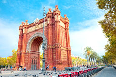 Perspective Arc de Triomphe in Barcelona. It`s a triumphal arch in the city of Barcelona in Catalonia, Spain. It was built, by architect Josep Vilaseca i Royalty Free Stock Image
