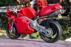Perspective back shoot of red small kid toy bike. royalty free stock photos
