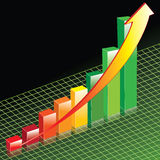 Perspective Bar Graph. This illustration is of a positive sales Bar Graph on an interesting background Stock Image
