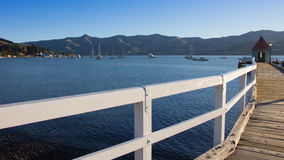 Perspective beautiful port and wood bridge Royalty Free Stock Photography