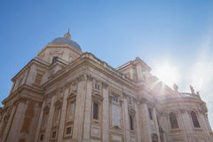 Perspective of big church. Big beautiful building of church against blue sky and sunshine Stock Photography