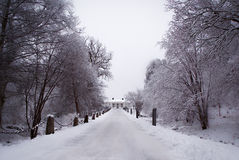 Perspective of a big old house in a winter landscape stock images