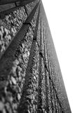 Perspective (black and white). The converging lines of a vertical wall Stock Photo