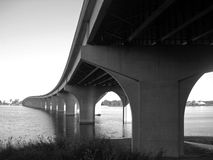 Perspective in Black & White. Perspective changes passing Bridge over Fox River Stock Images