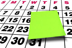 Perspective Blank Green Postit Post-it Calendar. Angle view of blank Green postit or post-it glued on calendar Stock Photography
