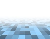 Perspective blue checkered surface Stock Photos