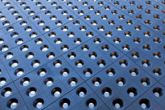 Perspective of Blue Tiles with Glass Portholes Royalty Free Stock Images