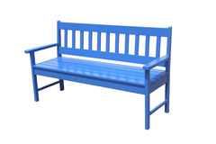 Perspective blue wooden bench Stock Images