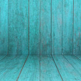 Perspective blue wooden floor with wood panel background Stock Photos