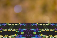 Perspective blur bokeh floor and wall texture wallpapers and backgrounds. Design bokeh blue pink white orange red yellow green brown silver turquoise grey purple Stock Image