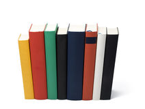 Perspective books. Eight books in a row, skewed perspective from top backside Stock Photography