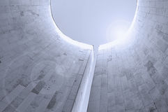 Perspective bottom view of semicircular walls built in futuristic minimalist style. Royalty Free Stock Photography