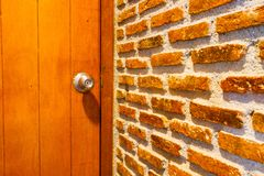 Perspective brick wall with the door Stock Photos