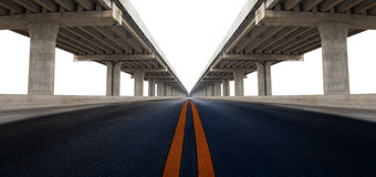 Perspective on bridge ram construction and asphalt raod isolated Royalty Free Stock Photography